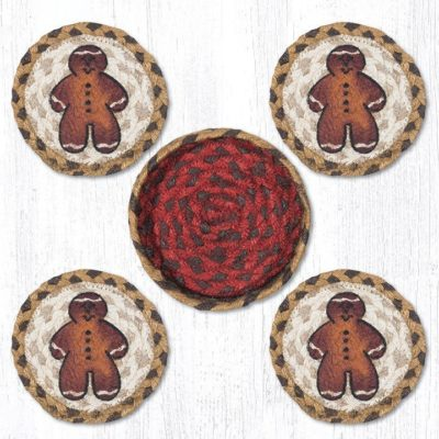 Gingerbread Men 29-CB111GBM Coasters In A Basket 5x5 Set of 4
