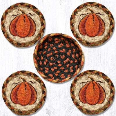 Harvest Pumpkin 29-CB222HP Coasters In A Basket 5x5 Set of 4