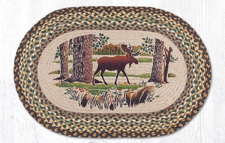 Moose Forest Braided Jute Oval Area Rug 051 | Morning Star ...