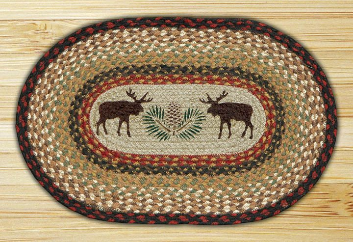 Moose Pinecone Braided Jute Oval Placemat 019 Morning
