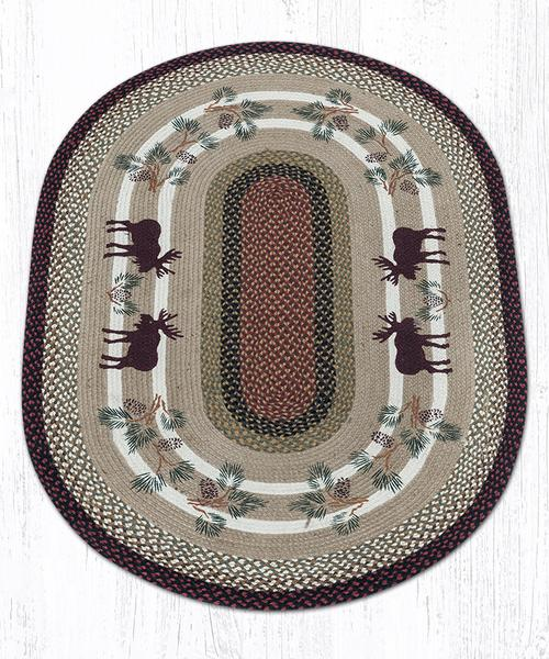 Moose Pinecone Braided Jute Oval Area Rug 019