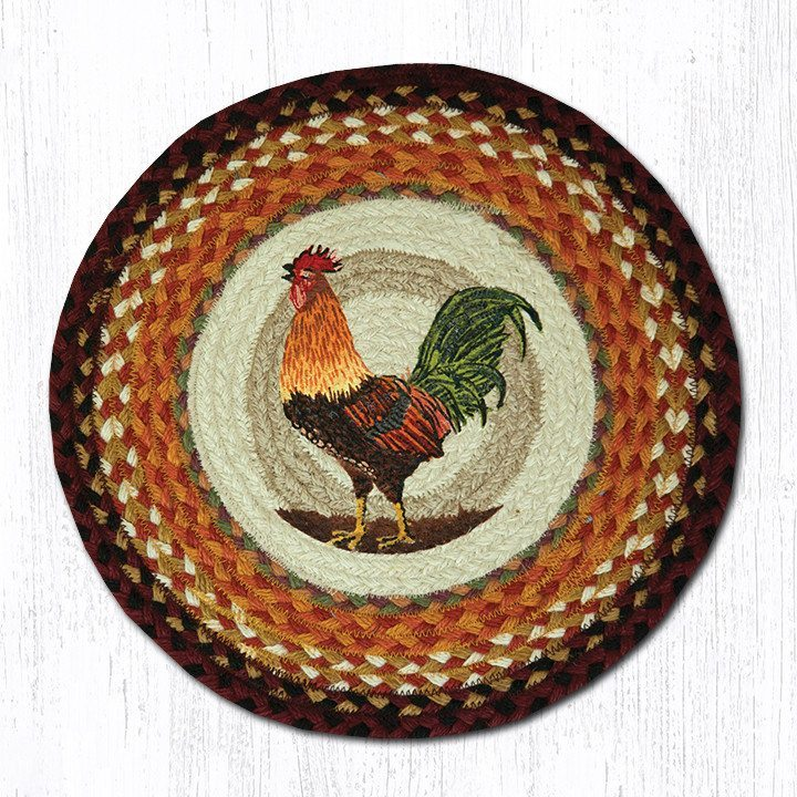 Morning Rooster Braided Jute Round Chair Pad 391