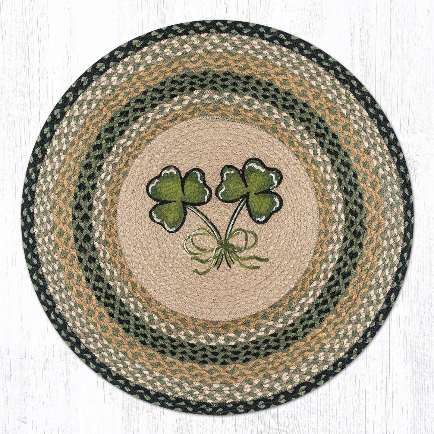 Shamrock Braided Jute Round Area Rug 116 Morning Star