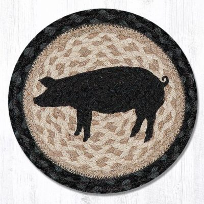 Pig Silhouette 80-459PS Round Individual Trivet 10x10