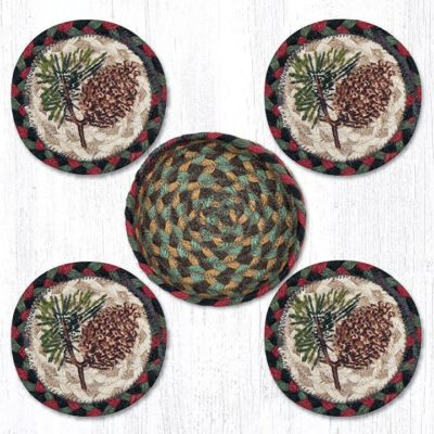 Pinecone 29-CB081P Coasters In A Basket 5x5 Set of 4