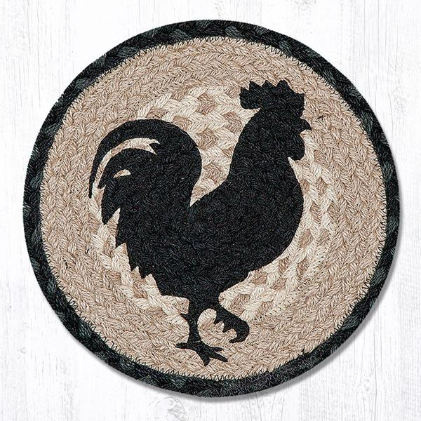 Rooster Silhouette Braided Jute Round Trivet 459