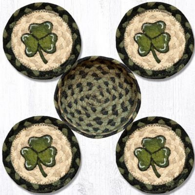 Shamrock 29-CB116S Coasters In A Basket 5x5 Set of 4