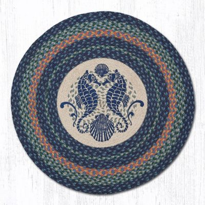 Shell Coast Seahorse 66-453SCS Round Area Rug 27x27
