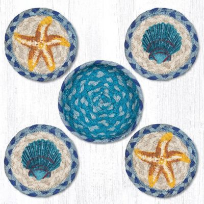 Star Fish Scallops 29-CB378SFS Coasters In A Basket 5x5 Set of 4