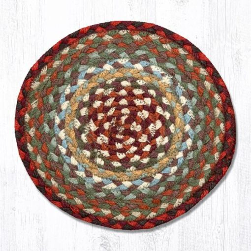 Thistle Green Country Red 46-417 Round Trivet 10x10