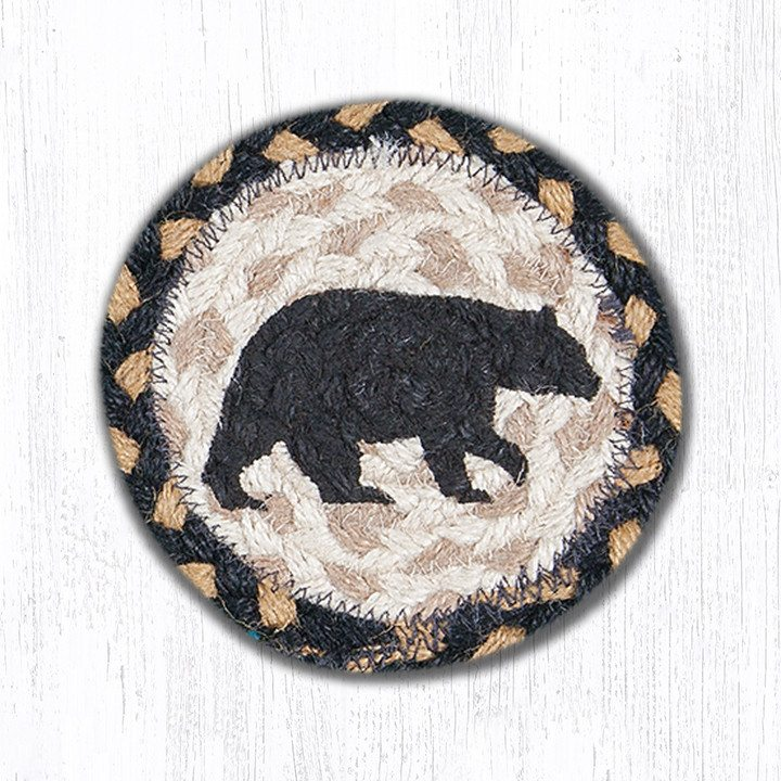 American Bear Braided Jute Round Individual Coaster 043 Morning Star Home Accents