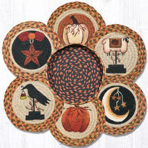 Autumn 56-1121 Trivets In A Basket Set of 6 10x10