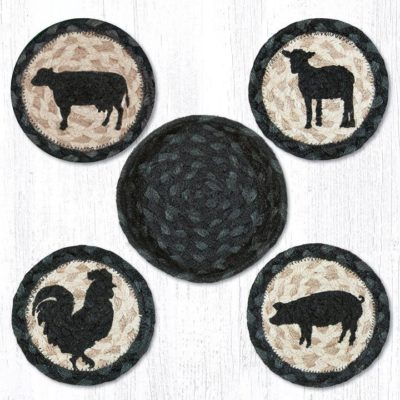 Barnyard Animals 29-CB459BA Coasters In A Basket Set of 4 5x5