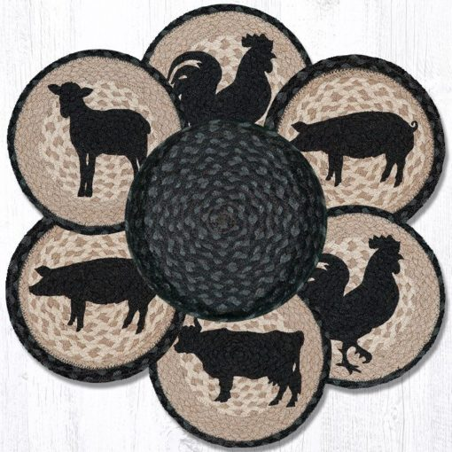 Barnyard Animals 56-459BA Trivets In A Basket Set of 6 10x10