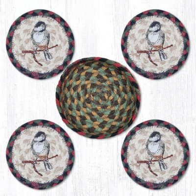Chickadee 29-CB081C Coasters In A Basket 5x5 Set of 4