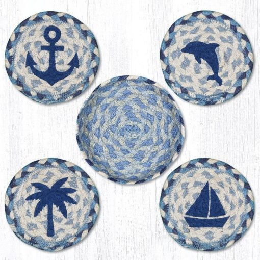 Coastal 29-CB525C Coasters In A Basket 5x5 Set of 4