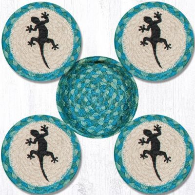 Gecko 29-CB473G Coasters In A Basket 5x5 Set of 4