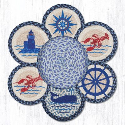 Nautical 56-443N Trivets In A Basket Set of 6 10x10