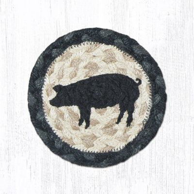 Pig Silhouette 31-IC459PS Round Individual Coaster 5x5
