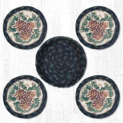 Pinecone 29-CB025A Coasters In A Basket 5x5 Set of 4