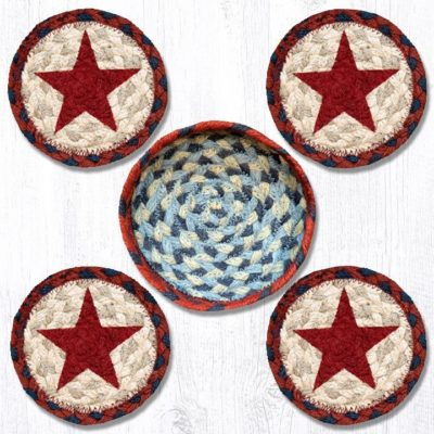 Red Stars 29-CB015RS Coasters In A Basket Set of 4 5x5