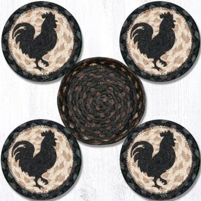 Rooster Silhouette 29-CB459RS Coasters In A Basket Set of 4 5x5