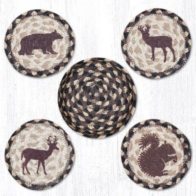 Wildlife 29-CB518W Coasters In A Basket Set of 4 5x5