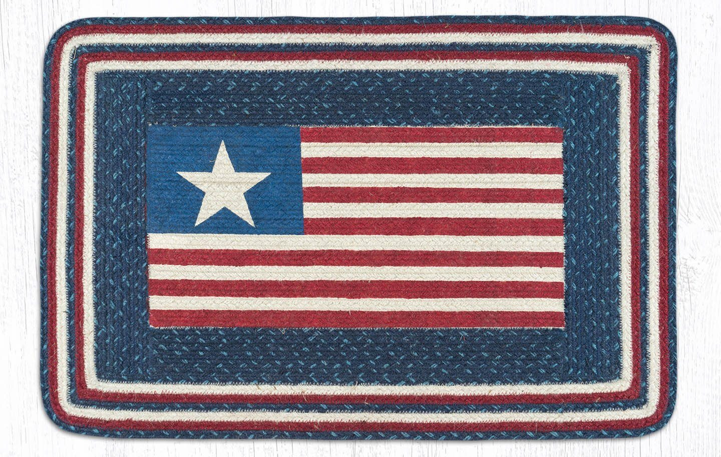 American Flag Braided Jute Rectangle Area Rug 565
