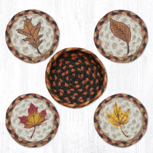 Fall Harvest Leaf 29-CB222FHL Coasters In A Basket Set of 4 5x5