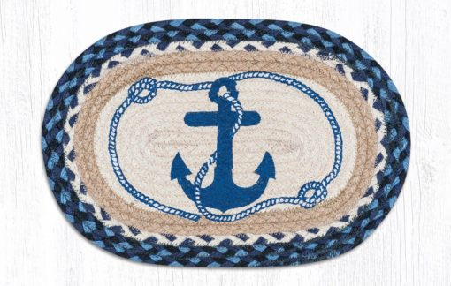 Navy Anchor 81-443NA Oval Accent Mat 10 x 15