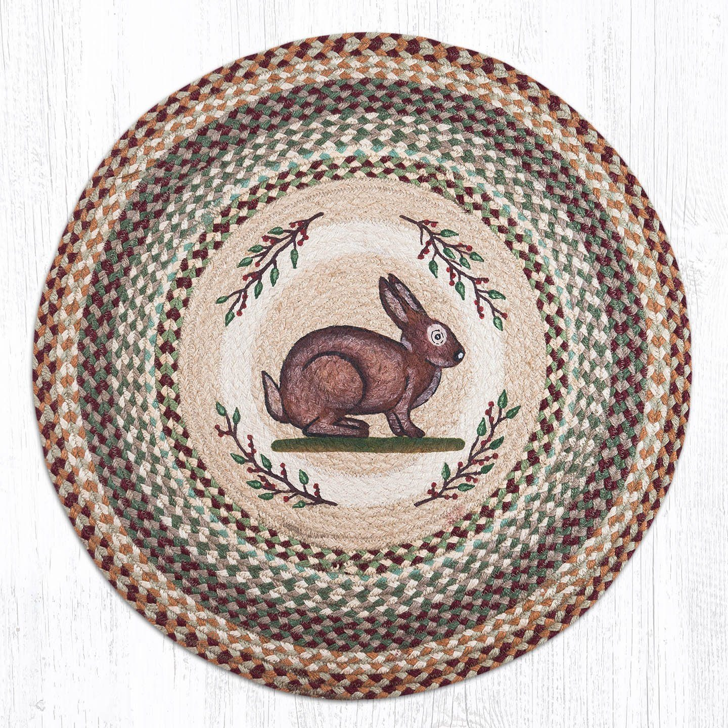 Vintage Rabbit Braided Jute Round Area Rug 413 Morning