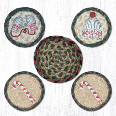 Winter 29-CB508W Coasters In A Basket Set of 4 5x5