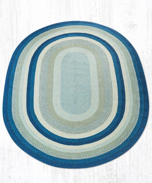 Breezy Blue Taupe Ivory 08-362 Oval Area Rug 8x11