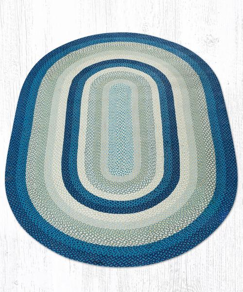 Breezy Blue Taupe Ivory 09-362 Oval Area Rug 6x9