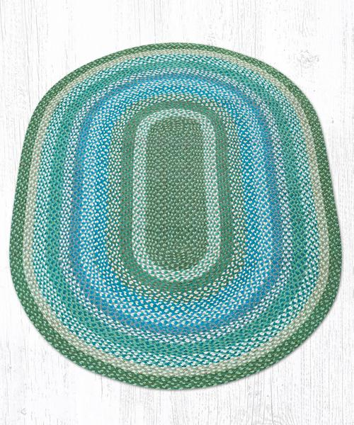 Sage Ivory Settlers Blue Braided Jute Oval Area Rug 419