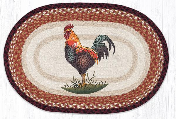 Rustic Rooster Braided Jute Oval Area Rug 471 | Morning ...