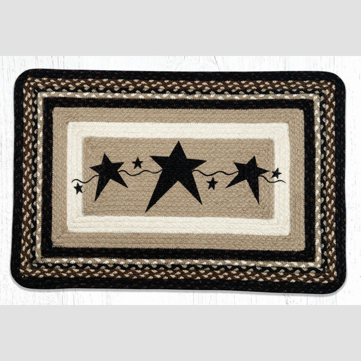 Primitive Stars Black Braided Jute Oblong Area Rug 313 Morning Star Home Accents
